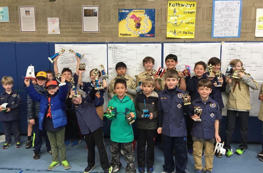 Trophy winners in the Pack 1 Rain Gutter Regatta.
