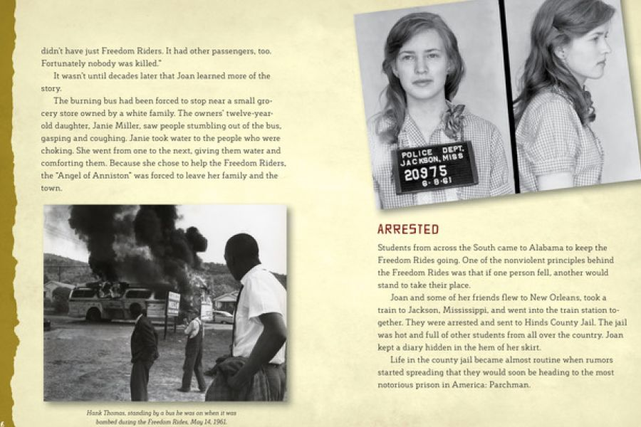 Two+pages+from+the+book+on+Joan+Mulholland%27s+days+battling+for+civil+rights%2C+including+getting+arrested.