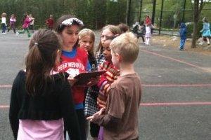 Peer mediators patrol the playground solving problems
