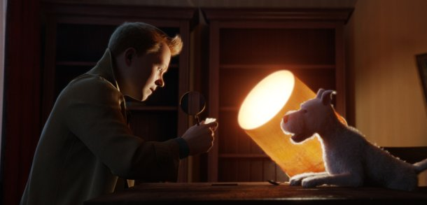 TinTin looks for clues with Snowy