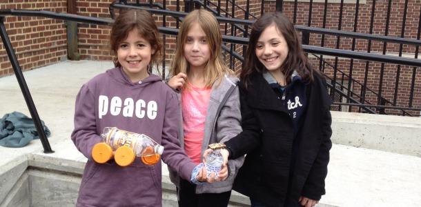 Phoebe, Callie, Julia take distance award on Recycling Raceway; Lynn, Brianna win for speed