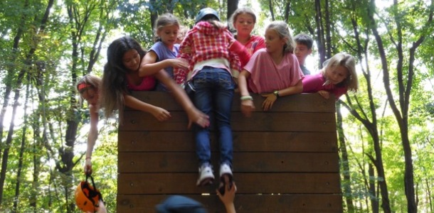 Fifth graders go to Ring Homestead Camp to learn trust and ride zip-line
