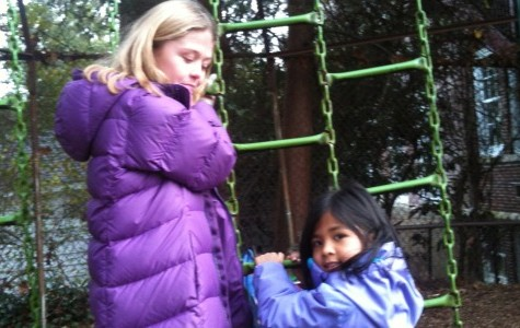 Fifth grade buddies show Kindergartners the ropes at lunch and recess