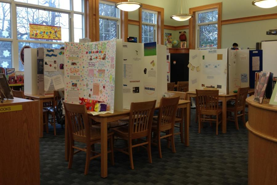 Invention posters in the library for last year's conventon.