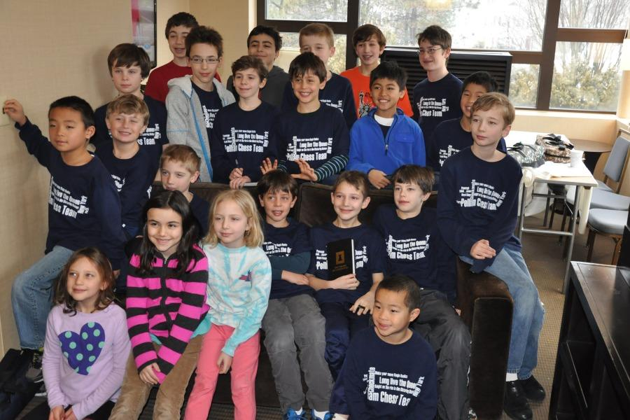 The players from the Pelham school chess teams in their spiffy shirts at the tournament in Saratoga.