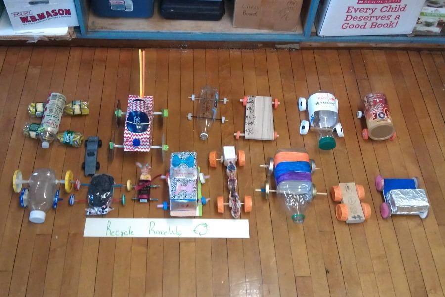 Recycle racers built by Mr. Ron Martucci's class in 2013.