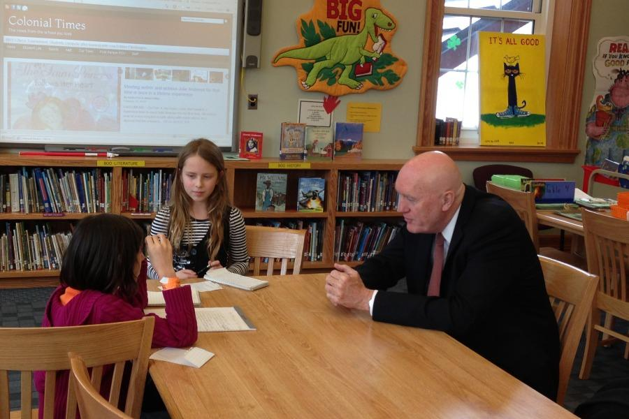 Colonial+Times+reporters+interviewed+Dr.+Charles+Wilson%2C+Pelham+interim+superintendent+of+schools%2C+after+he+spoke+to+the+newspaper%27s+staff.