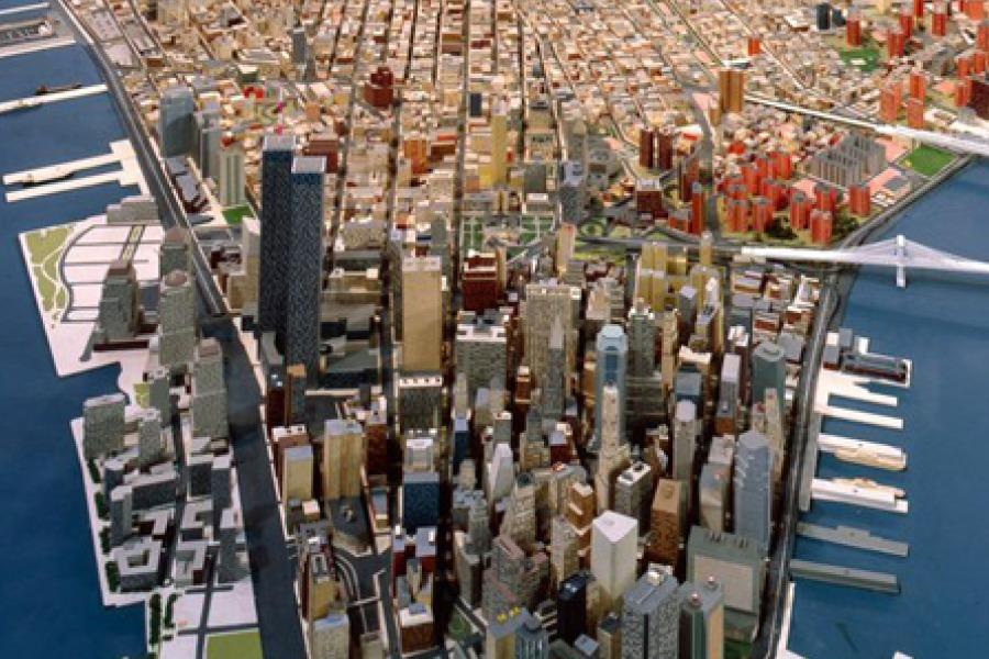 Downtown Manhattan on the Panorama at the Queens Museum (circa 1985).