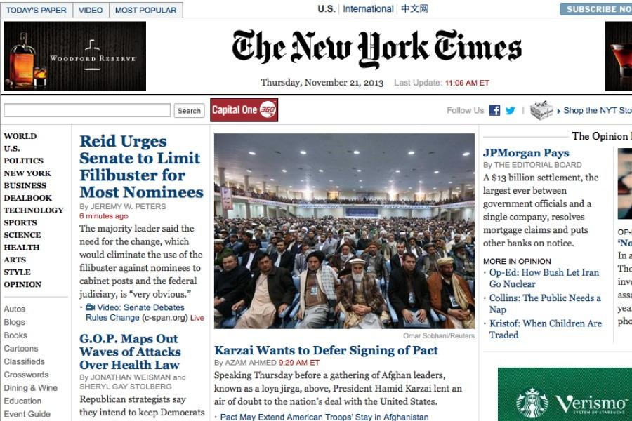 The+homepage+of+the+New+York+Times+website.