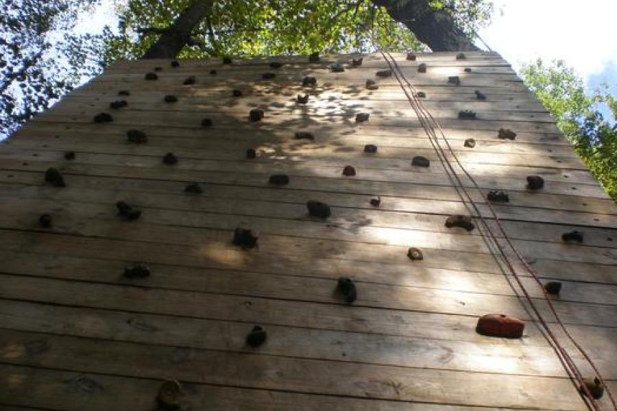 Fifth graders went up the climbing wall at Ring Homestead.