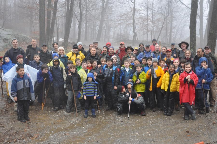 Members of Pelham Pack 1 who attended the winter cabin overnight.