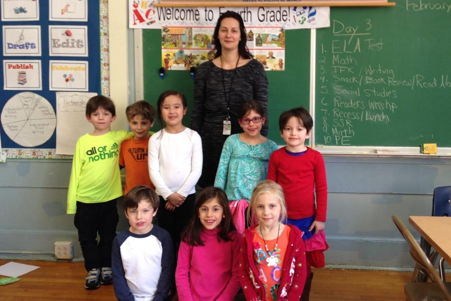Mrs. Meryeme Gashi with the first grade Mathsperts.