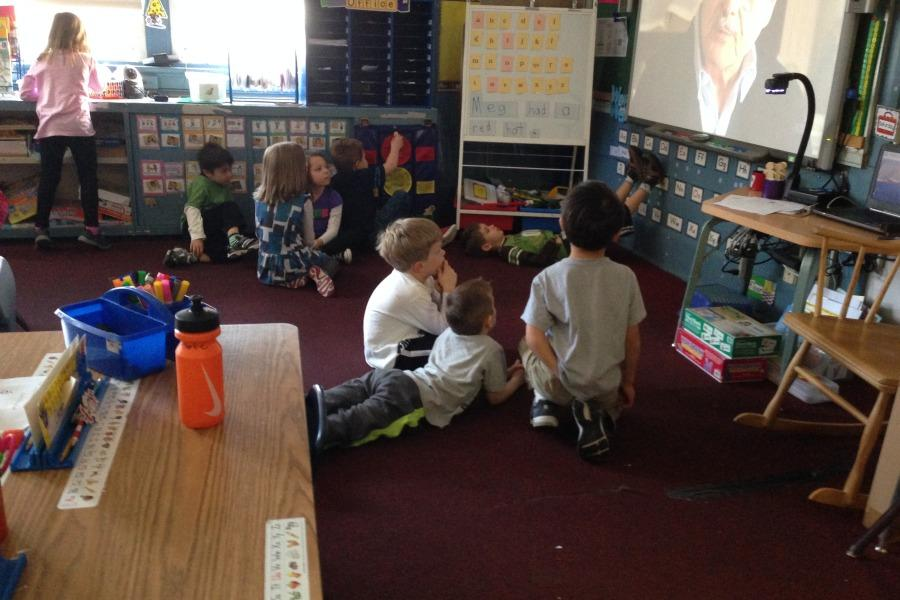 Kindergartners in Mrs. Kathleen McCarthy's class watched a movie.