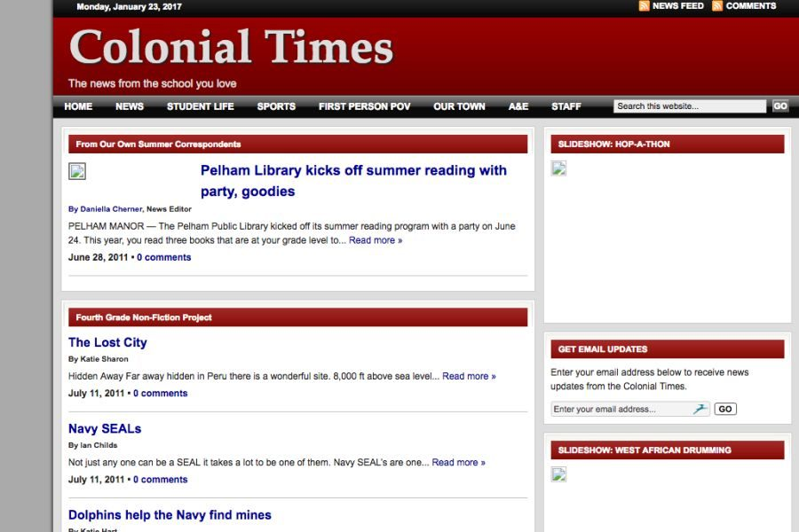The oldest version of the Colonial Times stored on the InternetArchive.org (aka The Way Back Machine) is the July 20, 2011 homepage. (The Archive often fails to capture images.)