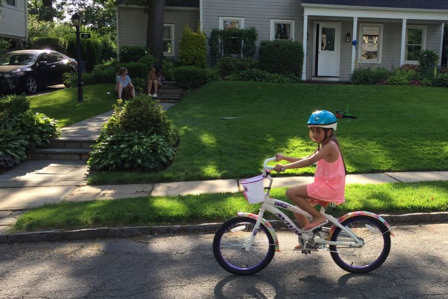 Third grader Anjali Shekher rode her bike after Colonial's Bike Day.