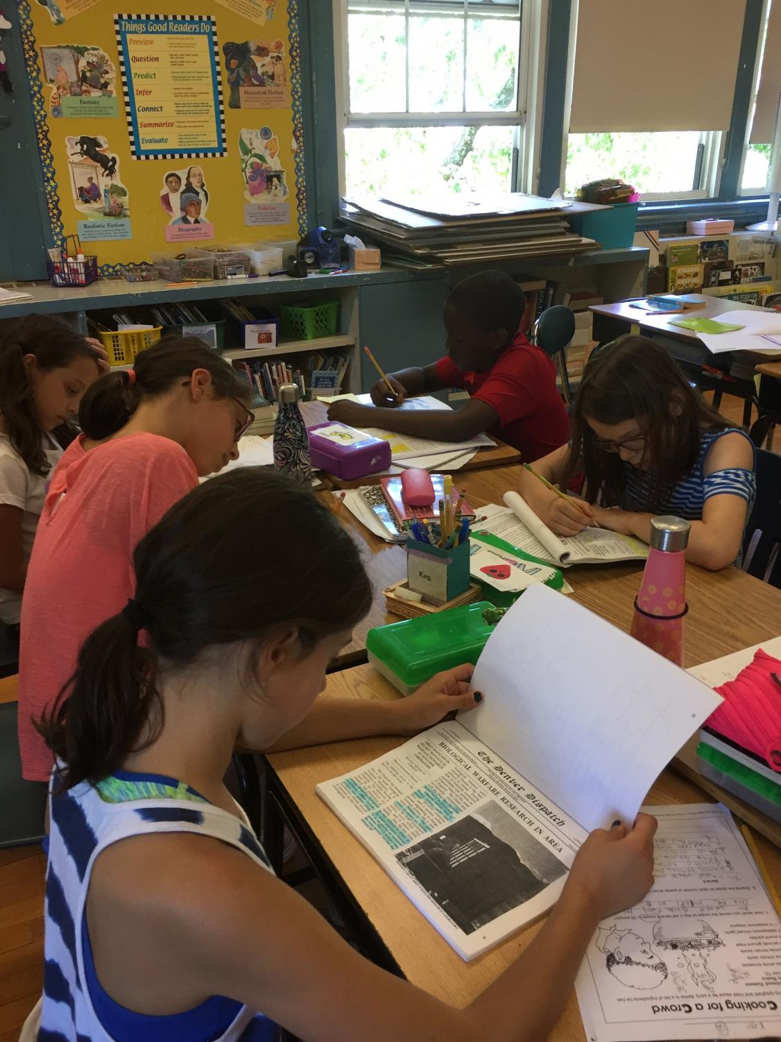 Students studied their Constitution Works workbooks to prepare for their case.